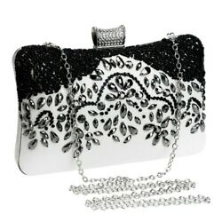 Evening Bags Women High Quality Beaded Rhinestone White Black Floral Strap $32.00