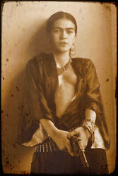 Frida Kahlo Mexican with Gun Vintage Art Wall Indoor Room Poster POSTER 24x36