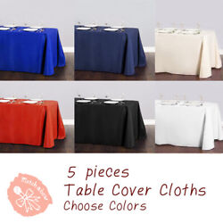 5 Pc Rectangle Tablecloth Table Cover Party Wedding Linen Colors Choose Size