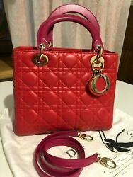 Christian Dior Cannage Lambskin Leather Lady Dior Medium Tote Bag 100 Authentic