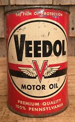 Vintage 1qt Veedol Pennsylvania Motor Oil Tin Can Gas Service Station Sign