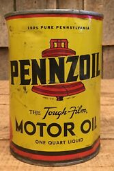 Vintage Nos 1qt Pennzoil Motor Oil Tin Can Gas Service Station Liberty Bell Grph