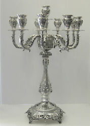 925 STERLING SILVER HAND CHASED ORNATE LEAF APPLIQUES TALL TEN LIGHT CANDELABRA