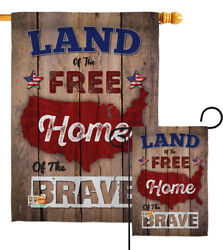 Land Of The Free, Home Brave Patriotic America Usa Honor Garden House Yard Flag