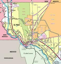 El Paso Texas Map Glossy Poster Picture Photo Banner Print Road City Usa Tx 5834