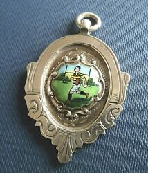 Attractive Sterling Silver And Enamel Rugby Medal H/m 1936 Chester - Not Engraved