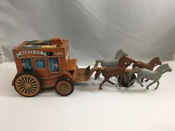 Vintage Santa Fe Stagecoach Tin Toy With Horses Made In Japan