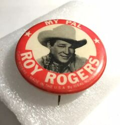"""My Pal Roy Rogers 1950's 1-3/4"""" Pinback Button Ideal Novelty And Toy Co."""