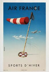 1951 Air France Winter Sports D'hiver Jean Colin Vintage Airline Travel Poster