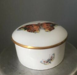 Limoges Charmart France Butterfly Trinket Round Pill Box Handpainted Vintage