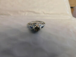 Antique 18k White Gold 5mm Genuine Champagne Diamond And Blue Sapphire Raised Ring