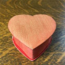 Vintage Small 2 1/2 Valentine's Day Heart Candy Box Padded Red Satin Lid
