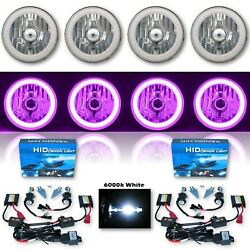 5-3/4 Purple Smd Led Halo Crystal Clear H4 Headlight And 6k Hid Bulb Set Of 4