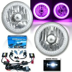 5-3/4 Purple Smd Led Halo Crystal Clear Glass H4 Headlight And 6k Hid Bulb Pair