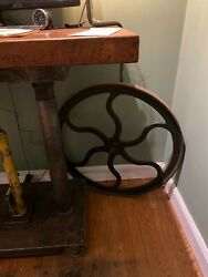 Vintage Antique Chandler And Price Printing Press Fly Wheel