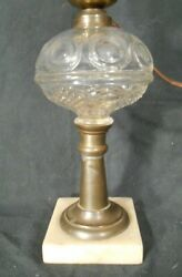 Antique Victorian Bullseye Glass Oil Lamp On A Brass And Marble Base