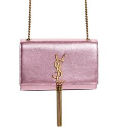 Saint Laurent YSL Monogram Kate Small Vegas Pink Gold Tassel Wallet On Chain Bag