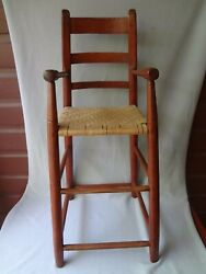Antique Red High Chair Early 19th Century Delaware Valley