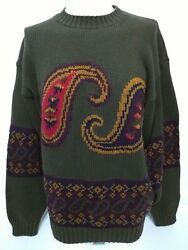 Vintage Green Purple Gold Giant Paisley Mens Sweater Size Large