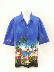 Pacific Legend Hawaiian Beach Parrot Tropical Scene Menand039s Camp Shirt Size 3xl