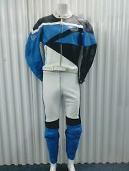 Teknic Vintage Navy Blue White 2pc Racing Motorcycle Full Leather Suit 40/50