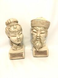 Universal Statuary Corp. Asian Man And Woman Ceramic Busts Statues Chicago 1960