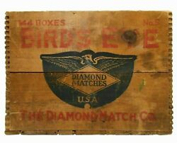Early 20th C Vint Bird's Eye Diamond Matches Red/blue Ink Stamped Wood Box Crate
