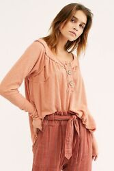 Free People We The Free Must Have Henley Cotton Top Tee Blouse Size Small