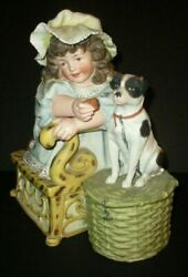 Heubach LARGE Girl and Terrier Dog Victorian Piano Baby Bisque Figurine German