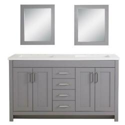 Bathroom Vanity Cabinet With Double Sink Mirrors Adjustable 4-drawers Basin