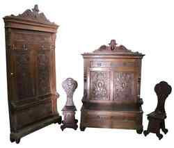19th Century Italian Renaissance Style Walnut antique Carved Entrance Hall Set