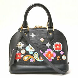 Louis Vuitton Alma BB Flower Design Epi 2WAY Bag Black M54836