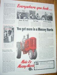 Vintage Massey Harris Advertising Page - Mh Tractor W / Front Weights - 1951