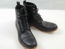 J75 by JUMP Drake Men's Black Military Lace Up Ankle Boots Slip Resistant Sz 10