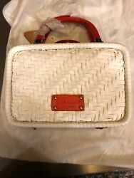 Rare Kate Spade White Straw Purse With Red Handles
