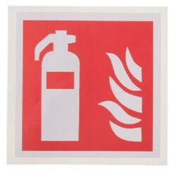 16x Rs Pro Andlsquofire Extinguisher Sign With Pictogramandrsquo Signs 100x100mm Self-adhesive