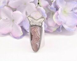 Sterling Silver Butterfly And Agua Nueva Agate Pendant By Envirometaldesigns