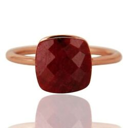 Natural Ruby Corundum Gemstone 925 Sterling Silver Rose Gold Plated Ring Jewelry