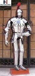 Suit Of Armor Body Full German Gothic Silver Finish Armour Medieval Costume