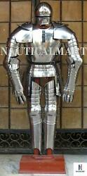 Suit Of Armor Halloween Gothic Wearable Silver Medieval Costume 16th Century