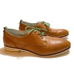 Pikolinos Oxfords Lace Up Loafers Size 41 Cognac Tan Green Laces Flat Shoe Women