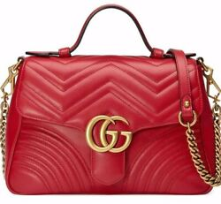 Gucci Marmont Top Handle Small Red Leather Matelasse Gold Shoulder Crossbody Bag $2,587.50