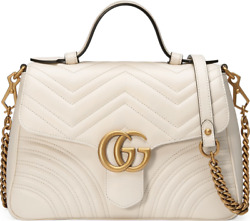 Gucci Marmont Top Handle Small White Leather Matelasse Shoulder Crossbody Bag $2,587.50