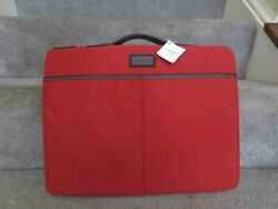 Coach Mens Sullivan Laptop Sleeve 15 Red With Brown Leather Trim
