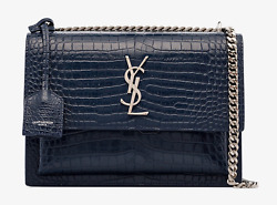 Saint Laurent YSL Medium Sunset Blue Croc Silver Chain Shoulder Crossbody Bag