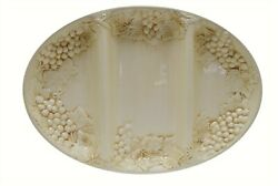 Harry And David Grapes Embossed Ivory 16.5 Divided Serving Tray Platter