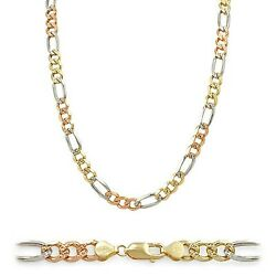 14k Solid Tricolor Gold Concave Figaro Chain Men Women Necklace Italy