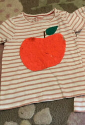 Mini Boden Girls Striped Flip Sequin Apple shirt 9 10 years