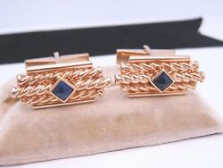 Vintage 14k Yellow Gold And Sugar Loaf Blue Sapphire Cabochon Cufflinks Buttons