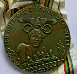 Rare Berlin 1936 Games Of The Xi Olympiad Medal Ich Rufe Die Jugend Der Welt